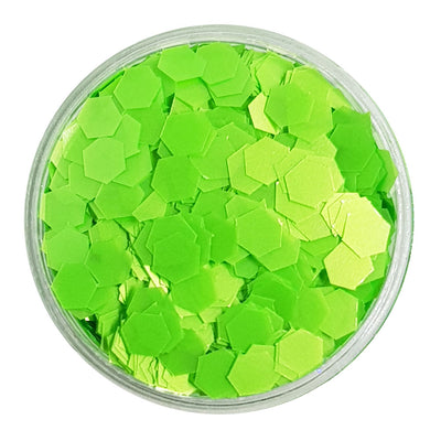 Bright Green Large Flake Glitter (Neon UV Glitter) - Green Beans
