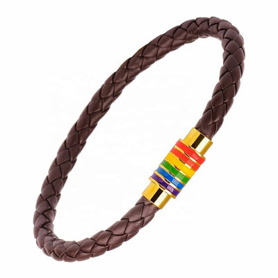 Gay Pride Rainbow Magnetic Bracelet (Brown Leather/Gold Fastener)