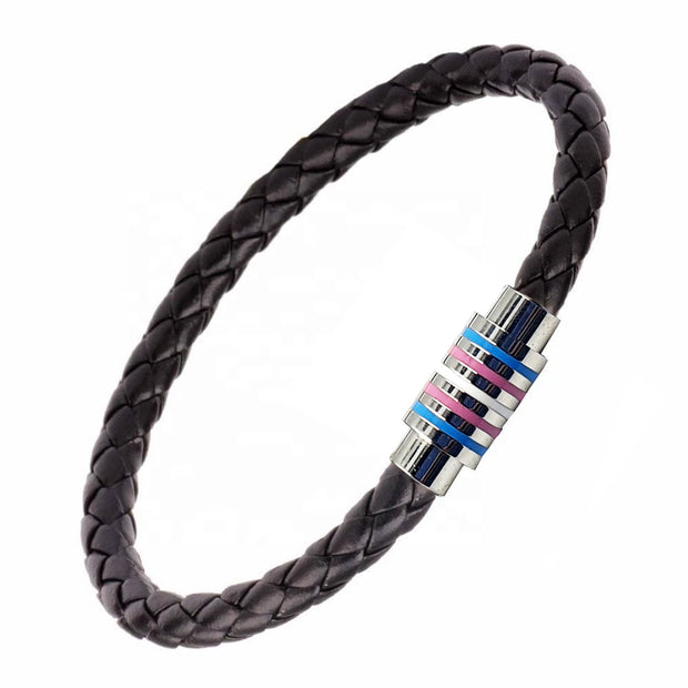 Transgender Magnetic Bracelet (Black Leather/Silver Clasp)