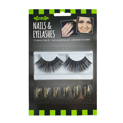 Halloween Fake Eyelashes & Spiderweb False Nails Set - Black