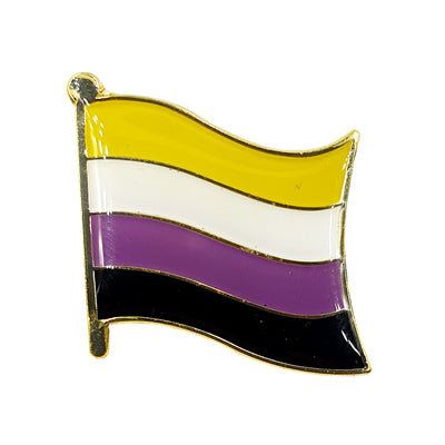 Non Binary Flag Gold Enamel Waving Flag Pin Badge