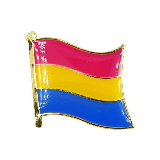 Pansexual Flag Gold Enamel Waving Flag Pin Badge