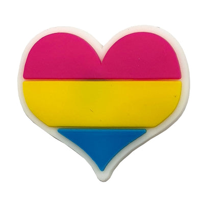 Pansexual Flag Silicone Heart Pin Badge