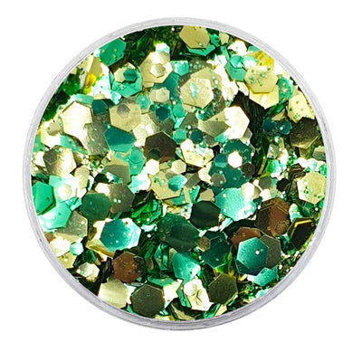 MUOBU Biodegradable Gold & Green Mixed Glitter - Metallic Festival Chunky Glitter Mix (BioPineapple)