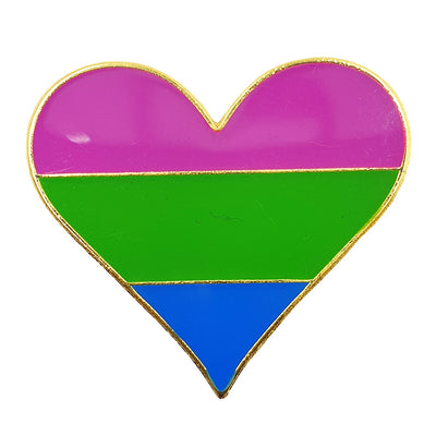 Polysexual Flag Metal Heart Lapel Pin Badge