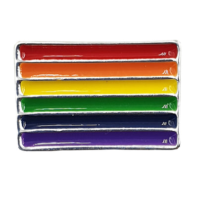 Gay Pride Rainbow Flag Silver Plated Pin Badge