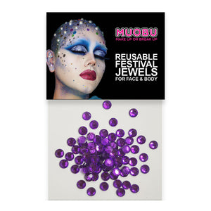 Purple Diamontes - Clear Face & Body Gems 4mm
