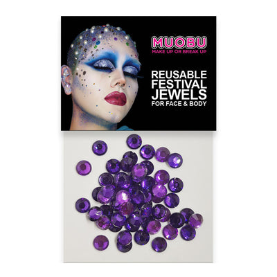 Purple Diamontes - Clear Face & Body Gems 6mm