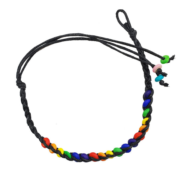 Gay Pride Rainbow Ceramic Bead Friendship Bracelet