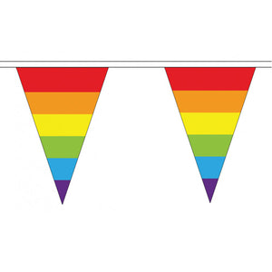 Gay Pride Rainbow Flag Cloth Bunting Small (5m x 12 flags)