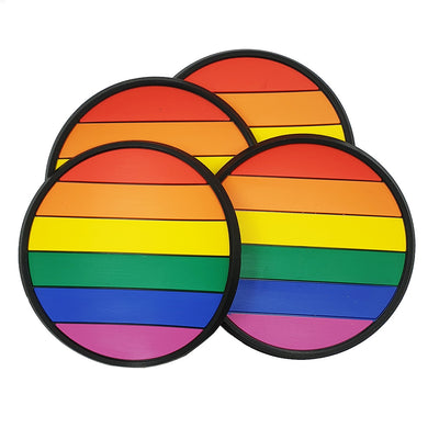 Gay Pride Rainbow Rubber Silicone Coasters