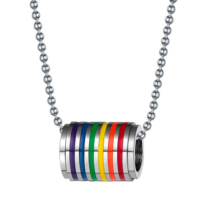 Gay Pride Rainbow Stainless Steel Cylinder Necklace