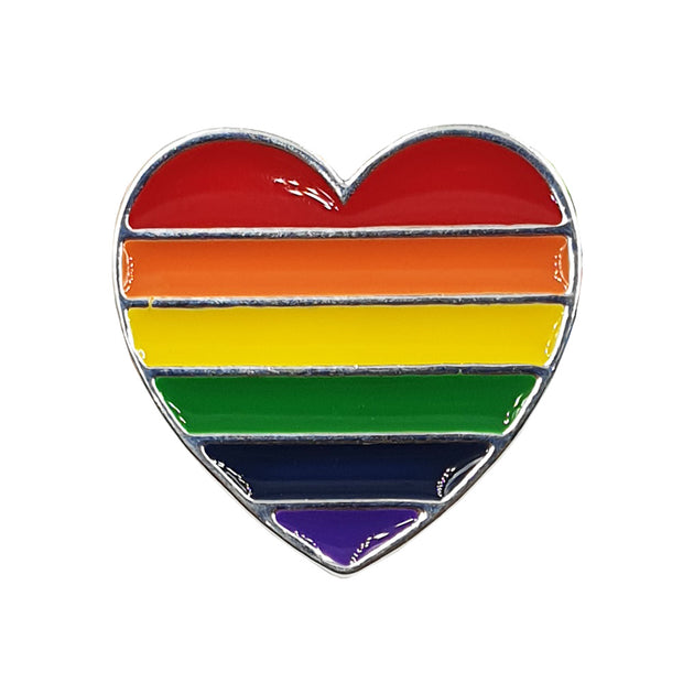 Gay Pride Rainbow Flag Silver Plated Heart Badge