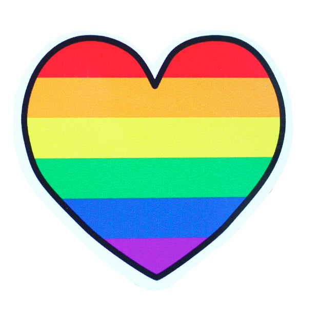 Gay Pride Rainbow Heart Vinyl Sticker