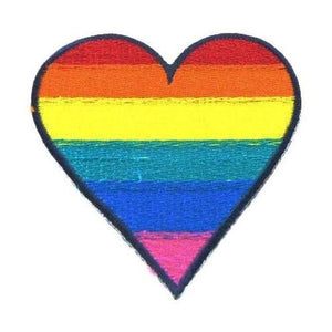 Gay Rainbow Heart Iron-On Patch