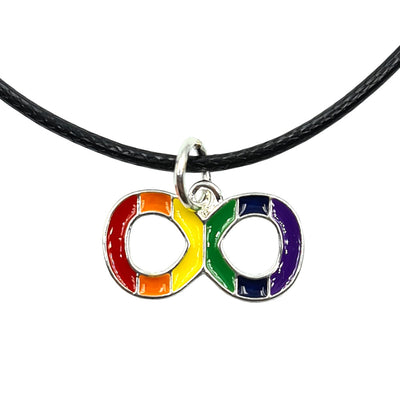 Gay Pride Rainbow Infinity Symbol Silver Plated Heart Charm Necklace
