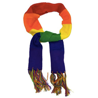 Gay Pride Rainbow Knitted Scarf