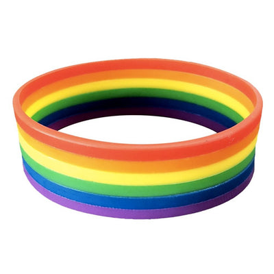 Gay Pride Rainbow Silicone Wristband Large