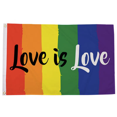 Gay Pride Rainbow Vertical Love Is Love Pride Flag (5ft x 3ft Premium)