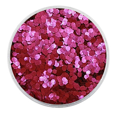 MUOBU Biodegradable Raspberry Red Glitter - Mini Hexagon Metallic Glitter