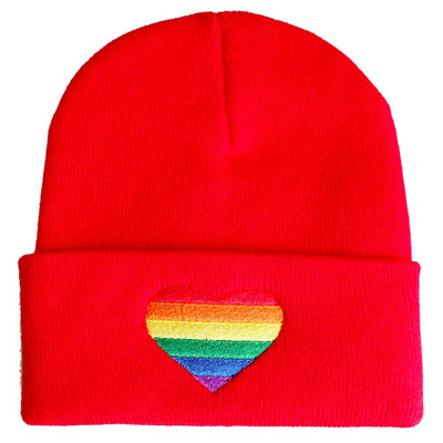 Embroidered Rainbow Heart Beanie Hat - Red