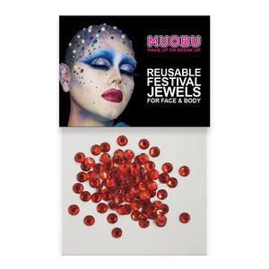 Red Diamontes - Clear Face & Body Gems 4mm