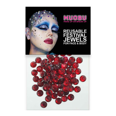 Red Diamantes - Clear Face & Body Gems 6mm