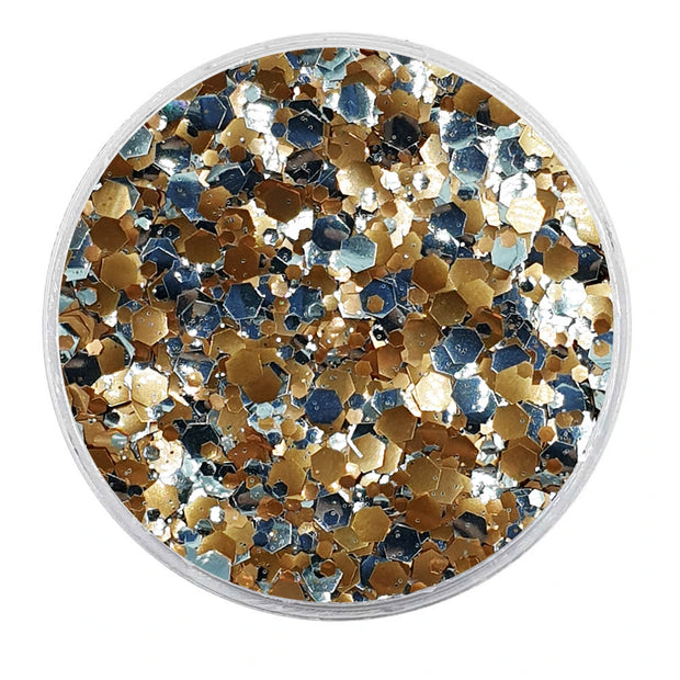 MUOBU Biodegradable Rose Gold & Silver Mixed Glitter - Metallic Festival Chunky Glitter Mix (BioSaturn)
