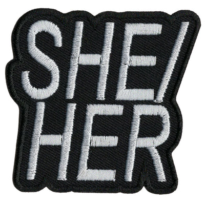 Pronoun She/Her Embroidered Iron-On Festival Patch