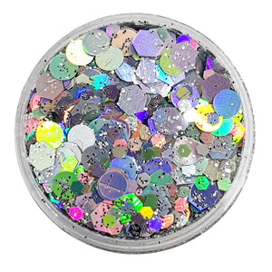 Silver Festival Glitter (Holographic Chunky Glitter Mix) - Silver Shimmer