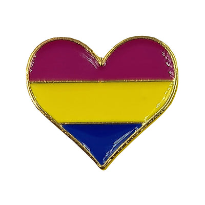 Pansexual Flag Metal Heart Lapel Pin Badge (Small)