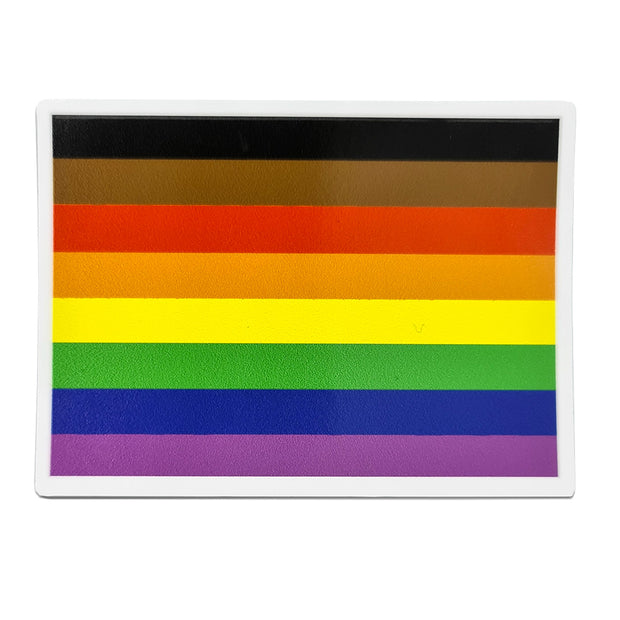 8 Colour Rainbow Flag Rectangle Vinyl Waterproof Sticker