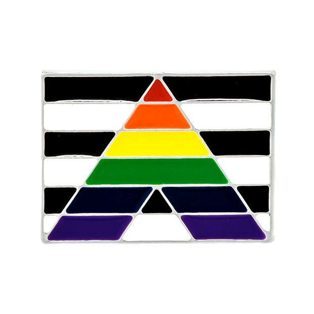 Straight Ally Flag Silver Plated Pin Badge
