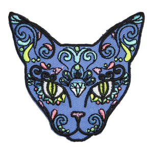 Sugar Skull Cat Iron-On Festival Patch