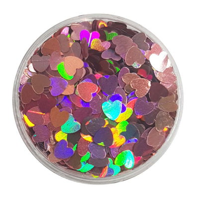 Pink Glitter Hearts (Holographic Glitter Hearts) - Sweetheart
