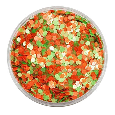 Mixed Chunky Glitter (Orange & Green UV Glitter Mini Hexagons) - Tang Fastic