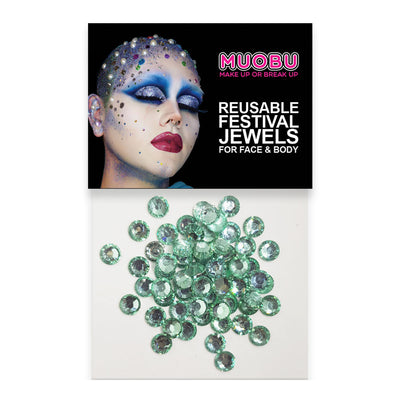Teal Diamontes - Clear Face & Body Gems 6mm