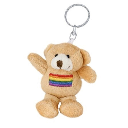 Gay Pride Rainbow Teddy Bear Keyring