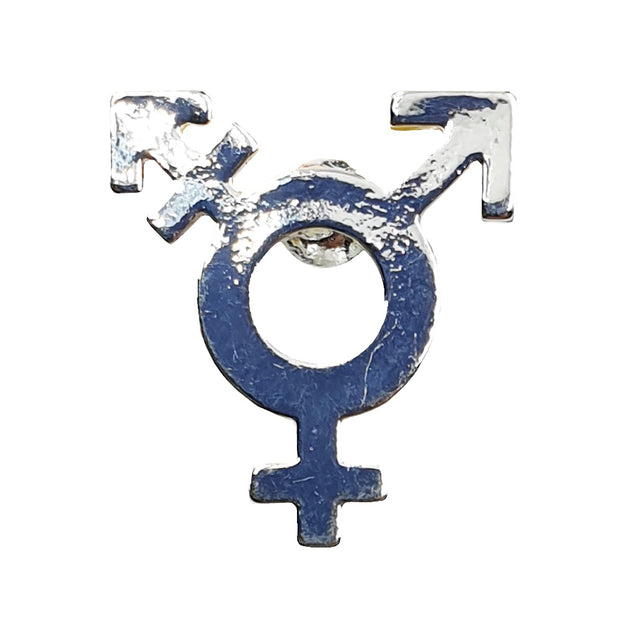 Transgender Symbol Silver Plated Pin Badge