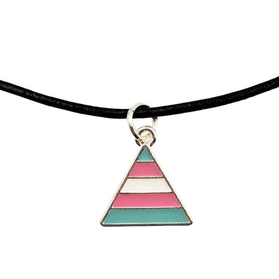 Transgender Flag Silver Plated Triangle Charm Necklace