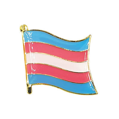 Transexual Flag Gold Enamel Waving Flag Pin Badge
