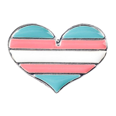 Transgender Flag Silver Plated Heart Pin Badge
