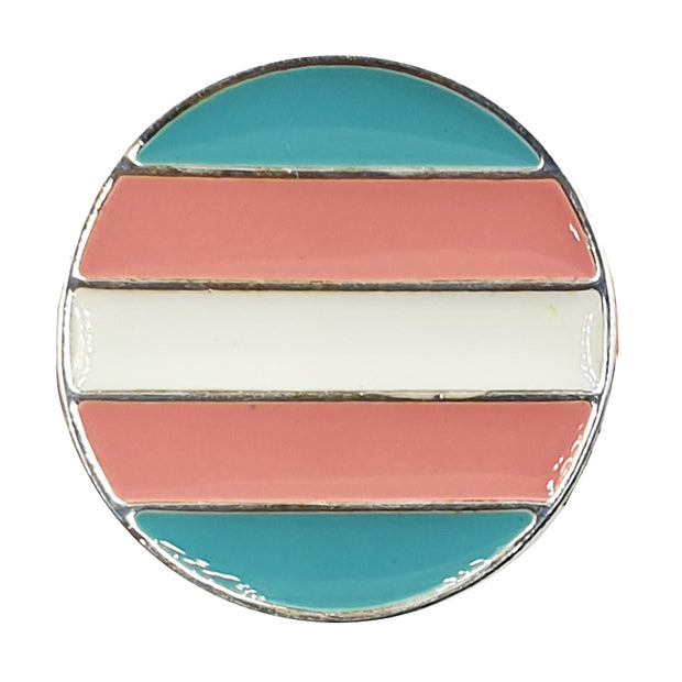 Transgender Flag Circle Plated Circle Pin Badge