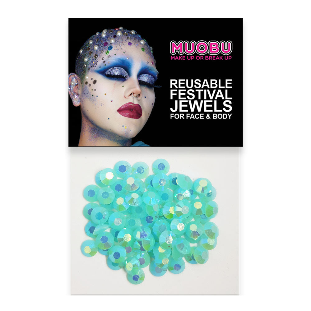 Mermaid Diamontes - Turquoise Iridescent Face & Body Gems 6mm