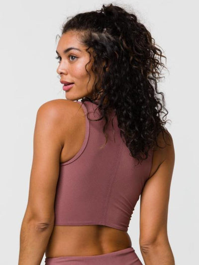 Front Twist Crop Top by Onzie in Toast Rib