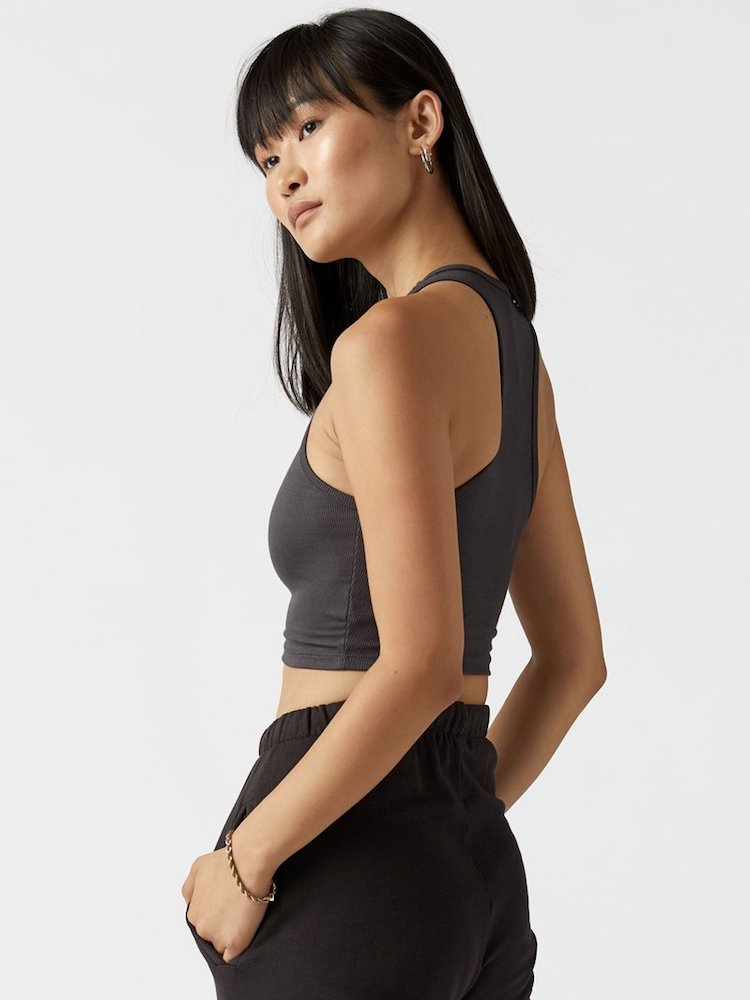 Hi Rise Crop Tank By Joah Brown - Charcoal FlexRib, front view