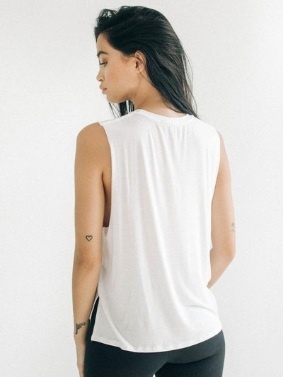 Iconic Tank by Joah Brown in White - back view