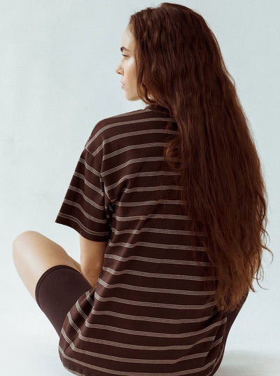 Joah Brown Oversized Crew Tee - Brown & Tan Cotton (back view)