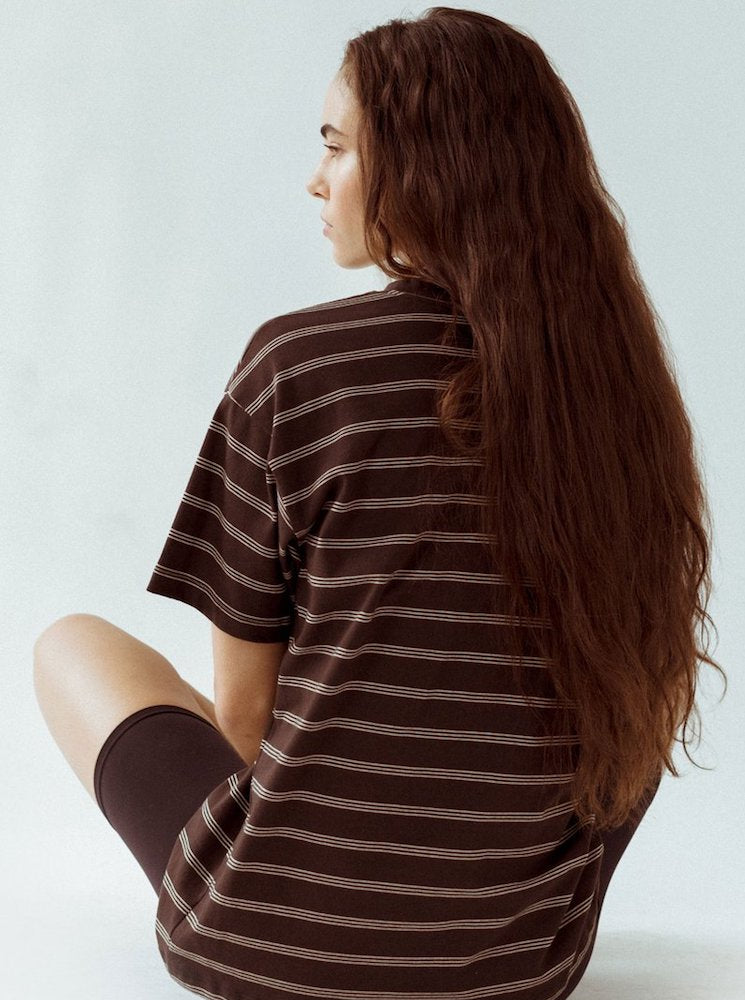 Joah Brown Oversized Crew Tee - Brown & Tan Cotton