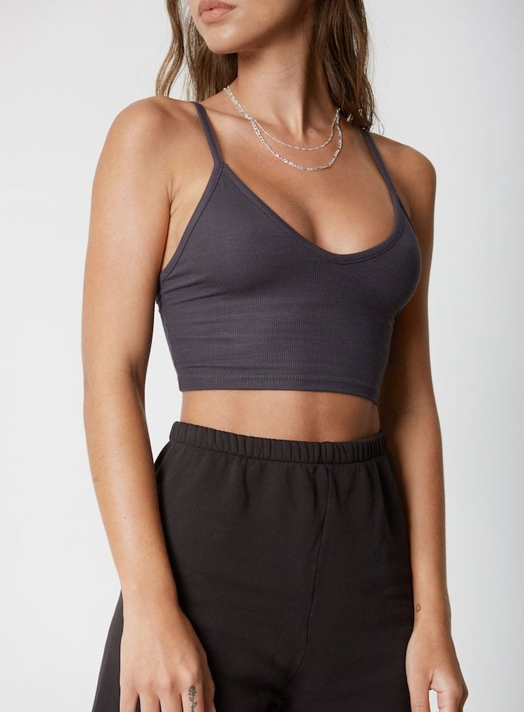 Strappy crop tank by Joah Brown in Black Flexrib - front view